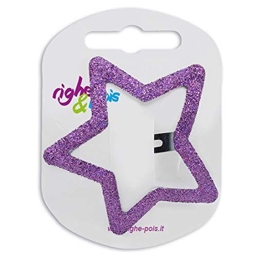 343 – 802 – Pince pour cheveux clic clac mode étoile Glitter cm 5 – Pinces pour Cheveux Barrettes aubergine
