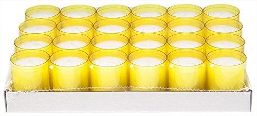 Sovie Refill Kerzen 24 gelbe Teelichter mit extra Langer Brenndauer (24h) für Feiern/Party/Gastronomie