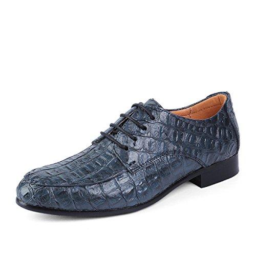 Scarpe In Pelle In Pelle Modello Coccodrillo Blue