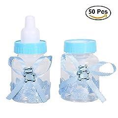 Idea Regalo - 50pz Biberon Portaconfetti Vasetto Caramelle Forma Di Bambino Bottiglia Per Mettere Caramelle Favori Di Nozze e Baby Shower Battesimo Regali Decorazione (Colore : Celeste)