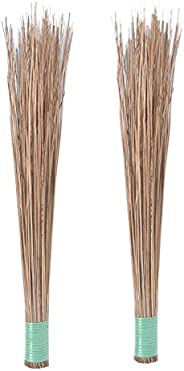 UVA Natural Coconut Broom Sticks for Floor Cleaning (Brown, Large) - Pack of 2