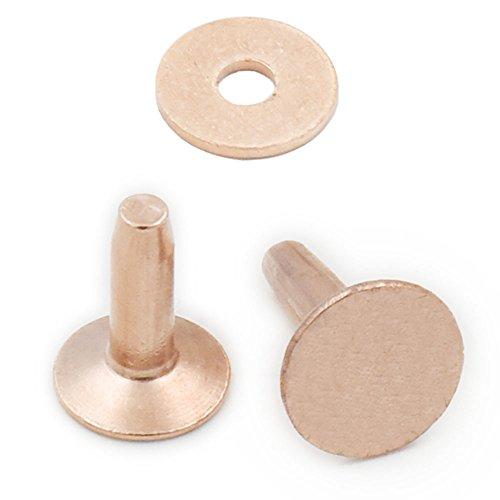 25 piezas 10 mm x 12 mm x 3,3 mm sólido remaches de cobre y rebabas de artesanía en cuero mactack onestopdiycom sujetadores photoslt