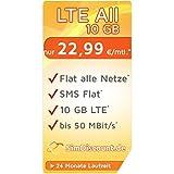 SimDiscount LTE All 10 GB LZ · Flat alle Netze · Flat SMS · EU-Roaming · 0,- € AG & 10,- € Wechslerbonus · O2 Netz · 10 GB Internet LTE · nur 22,99 € / Monat