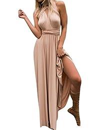 Damen äRmelloser Kleid Lang Kleider Hochzeit Elegant Tunikakleid Minikleid  RüCkenfrei Abendkleider… ab985c71db