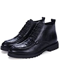 Z.L.F Zapatos Oxford para Hombres Botines con tacón Plano Piel en Punta Ocio y Moda Cuero