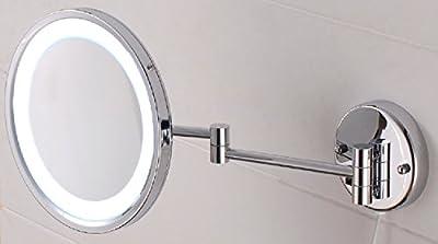 VELMA - AROUND - LED110 5x - Wunderschöner beleuchteter Kosmetikspiegel mit neuester LED Technik + weißen LED-Dioden - 5-Fach Vergrößerung - In alle Richtungen verstellbar - Komplett an die Wand klappbar - Hochglanz verchromtes Messing - Premium-Quali