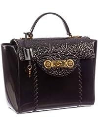 19dd0428fe Versace Women s Medusa Buckle Patent Leather Clutch DP8E592 DVRNX D410C  Black