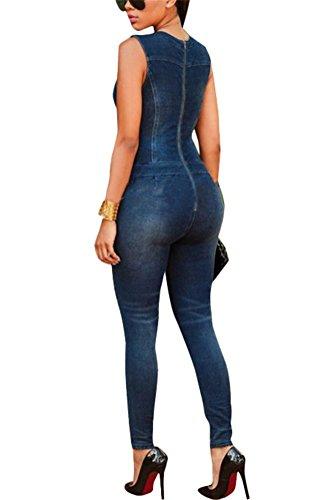 Brinny Combinaisons en Jeans Femmes Amincissant Bandage d'Avant Jumpsuit Top et Pantalons Une Pièce Jeans Barboteuse Femmes 4 tailles: S-XL Bleu