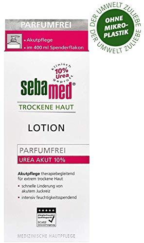 Sebamed Trockene Haut Urea Akut 10% Lotion, parfumfrei, Feuchtigkeits-Lotion mit Süßmandelöl für Männer und Frauen, lindert spürbar Juckreiz und hilft sehr trockene Haut zu glätten (400 ml)