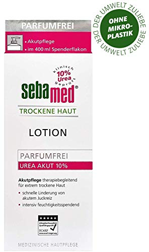 sebamed Trockene Haut Urea Akut 10{61c5b99af75cf775c476d0e657dafcbf6af252d9df45a6343b57e90a76aef6ba} Body-Lotion, parfumfrei, Feuchtigkeits-Creme mit Süßmandelöl für Männer und Frauen, lindert spürbar Juckreiz und hilft sehr trockene Haut zu glätten (400ml)