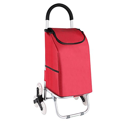 Cabaf Chariot Dolly, Escalier d'escalade roulant Courses Pliable panier 6 Roues , red