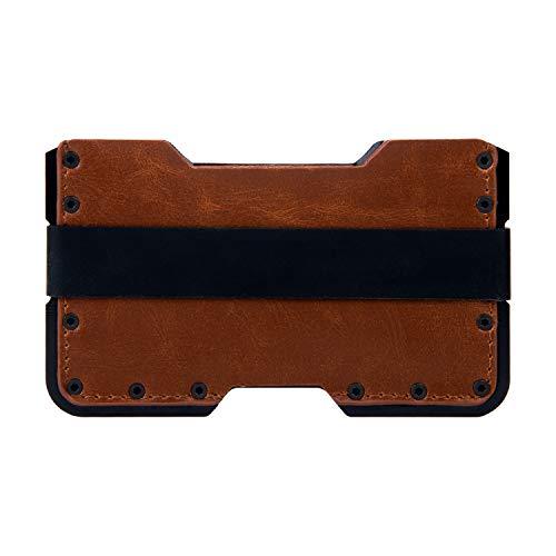 Tarjetero metalico con Bloqueo RFID para Hombre y Mujer. Cartera pequeña Fina y Minimalista Slim de Aluminio y Piel. GOANSEE
