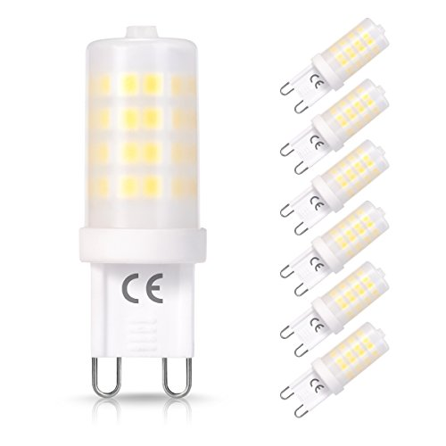 6x 5W, lampadine LED G9, Techgomade lampada alogena 50W, bianco caldo 3000K, angolo di diffusione: 360°, 380LM, mais, lampadina a risparmio energetico