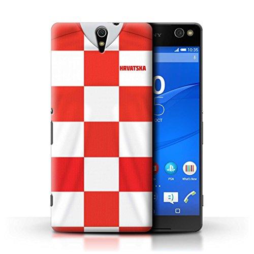 Stuff4® Hülle/Case für Sony Xperia C5 Ultra/Kroatien/Kroatisch Muster/Weltmeisterschaft 2018 Fußball Trikot Kollektion
