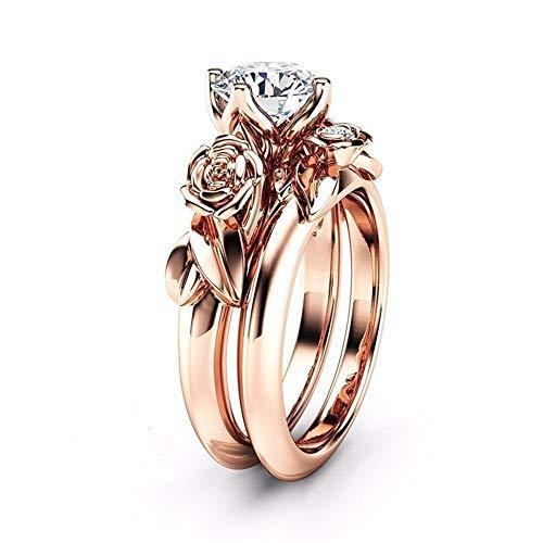 Herren, Neue Frauen Silber & Rose Gold Abgelegt Weiß Hochzeit Engagement Floral Ring Set, Rose Gold, 10# ()