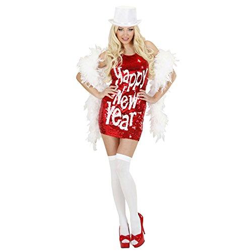 Kostüm Silvester - Widmann 94522 Erwachsenenkostüm Pailettenkleid Happy New Year, womens, M