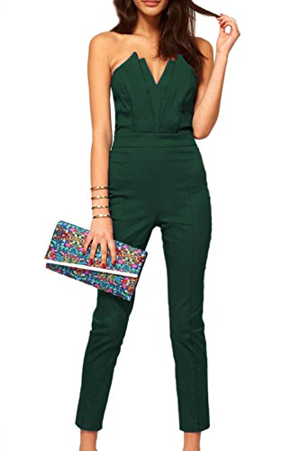 Femmes hors de l'épaule V Neck Jumpsuits green