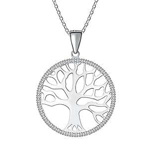 "Kette Damen, ATMOKO 925 Sterling Silber Halskette, 3A Zirkonia Schmuck ""Baum des Lebens"" Halskette Perfektes Geschenk für Damen Frauen Mädchen Mutter Freundin"
