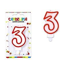 Idea Regalo - takestop® CANDELINA Candela Compleanno Bianca Bianco Bordo Rosso Numero CANDELINE Torta per Festa Party (Numero 3)