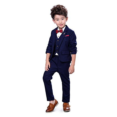 (Zicac Jungen 4 Stücke Modern Fit Anzug Solide Kleid Anzug Jacke Weste Krawatte Hosen (Blau, Höhe 140 cm))