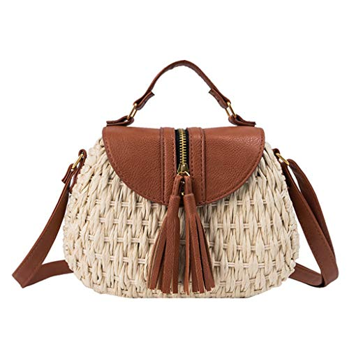 MA87 Damen Umhängetasche Handgestrickte Tasche Quaste Stroh Tasche Schulter Diagonale Tasche (Weiß) -