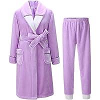 ee626e7f4d NIGHTSLEEP Accappatoio da Donna + Pantaloni Tessuto di Flanella  Abbigliamento da Notte da Donna Coppia Accappatoio