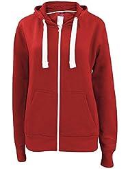 Nouvelle plaine de filles Ladies Zip Up Hoodie Sweatshirt femmes Fleece Jacket Hooded Top