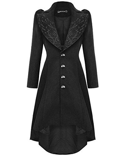 Oscuro en Love para Mujer gótico Abrigo Chaqueta Color Negro Vintage Steampunk Victorian Negro Negro 36