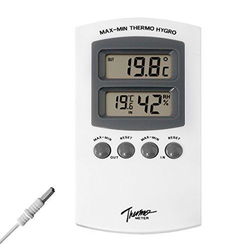 Digital Innenthermometer und Hgyrometer mit Min Max Funktion . Hygrometer , Innen Thermometer mit Aussen Fühler / Sensor Wasserdicht