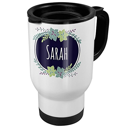 Thermobecher weiß mit Namen Sarah - Motiv Flowers - Coffee To Go Becher, Thermo-Tasse 10