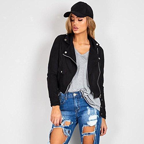 LHWY Femmes sexy hiver Slim moto Moto Veste en cuir Manteau Zipper Noir