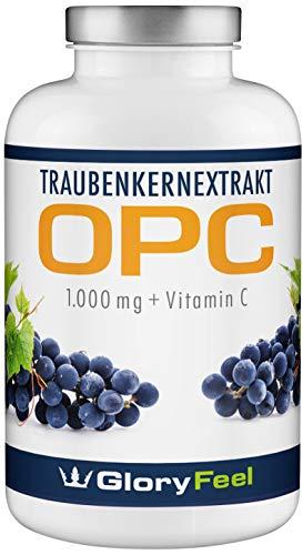 OPC Traubenkernextrakt - PREIS-LEISTUNGSSIEGER 2018* - 360 Kapseln - 1000mg OPC (95%) pro Tagesdosis - Französischen Weintrauben - Laborgeprüft ohne unerwünschte Zusätze hergestellt in Deutschland