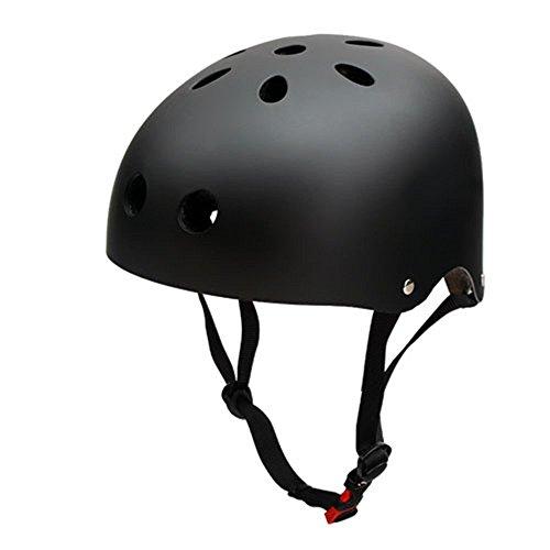Kinder Skateboarder Helm Fahrradhelm Unisex Verstellbar Schutzhelm für Junge Mädchen Skate BMX Fahrrad Roller Sport - Schwarz