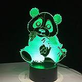 Lámpara 3D Ilusión óptica Luz Nocturna 7 Colores Decoracion led Control Táctil Control remoto Conector USB Decoracion de dormitorio,Panda Como niños regalo de navidad de cumpleaños