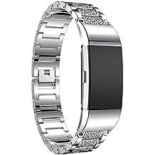 LongraReloj de acero inoxidable de cristal banda reloj de pulsera reloj inteligente (Plata)(Una banda de reloj, no un reloj)