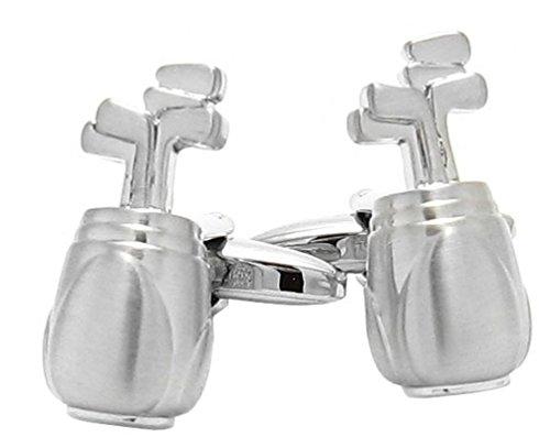 Unbekannt Manschettenknöpfe Golf Tasche + Schläger - Novelty Cufflinks golfbag inkl. Silberbox