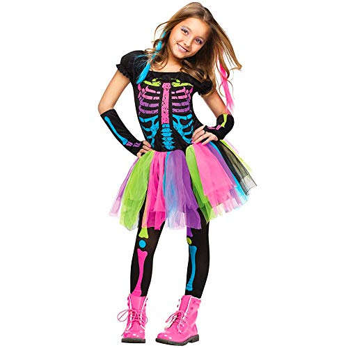 DMMDHR Halloween Halloween Kostüm für Kinder Mädchen Funky Punky Bones Kostüm Kind Skeleton Rocker Cosplay Tutu Kleid Kostüm, (Funky Bones Kostüm)
