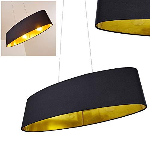 Pendelleuchte Venosa, moderne Hängelampe aus Metall/Kunststoff in Schwarz/Gold, 2-flammig, max. Höhe 130 cm (kürzbar), 2 x E27 max. 60 Watt, geeignet für LED Leuchtmittel -