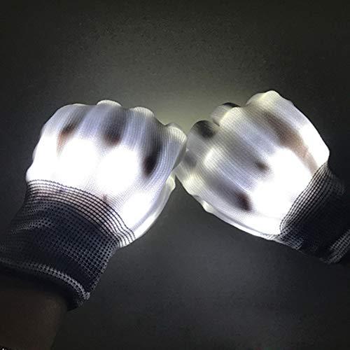 Fellibay Light Up Gloves LED Gloves Party Light Show Skeleton Halloween Gloves Colorful Finger Lighting Clubs Lightshow Dancing Gloves for Clubbing  Halloween  Rave  Birthday  EDM  Disco  Party  White