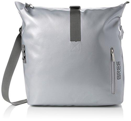 BREE Unisex-Erwachsene Punch 715, Shiny Silver, Messenger S18 Schultertasche, Silber, 14x30x40 cm