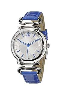 Just Cavalli - R7251174645 - Street - Montre Femme - Quartz Analogique - Cadran Argent - Bracelet Cuir Bleu
