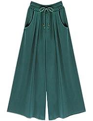 Etosell Femmes Casual De Haut Taille Elastique De Jambes Larges Lache Pantalons