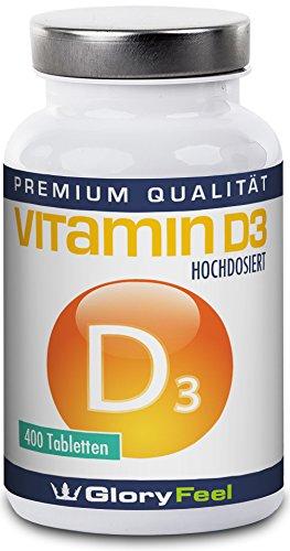 Vitamin D3 1000 IE - Der VERGLEICHSSIEGER 2017* - 400 Hochdosierte Vitamin-D Tabletten ohne Magnesiumstearate - Über 13 Monate D-3 Bedarf - Nahrungsergänzung von GloryFeel (Maximale Stärke Tabletten)