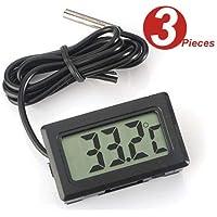 WINGONEER 3Pcs Termometro digitale LCD Monitor di temperatura con sonda esterna Per piccolo freezer frigorifero Aquarium - Nero