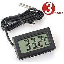 WINGONEER 3Pcs Monitor de temperatura Digital LCD Termómetro con sonda externa para el refrigerador y congelador
