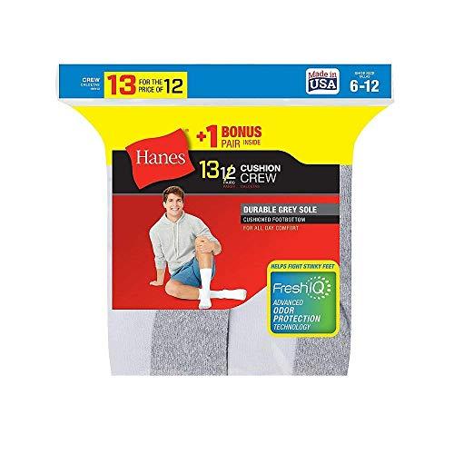 Hanes Men's Grey Cushion Crew Socks,White,2Pk (20 Pairs) 10-13