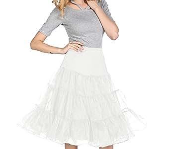 Dressystar Damen 50s Vintage Rockabilly Petticoat Underskirt Tutu in mehreren Farben L/XL Weiß