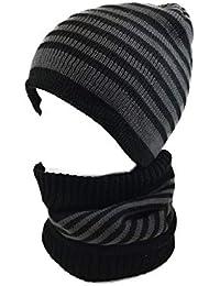 CHARRO Set 2 pezzi Cappello Cuffia Uomo Invernali in Maglia con Sciarpa  scalda collo 7ab990149b80