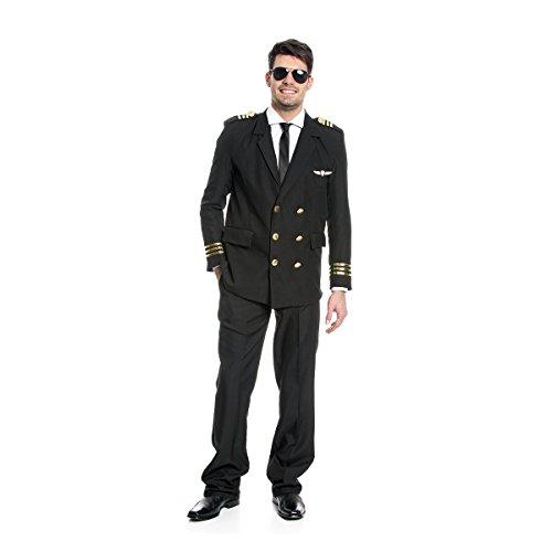 Kostümplanet® Jacket Pilot Herren Kostüm Piloten-Kostüm Uniform Größe 56/58