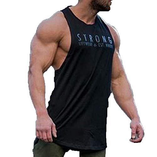 HROIJSL Männer Ärmelloses Bodybuilding Shirt Tank Top Tee Singlet Fitness Sport Weste Bedruckte Tank top mit Rundhalsausschnitt Sport Style trainingsanzüge Farben Basic t-Shirt -